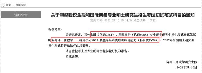 湖南工商大学调整2022年考研初复试科目